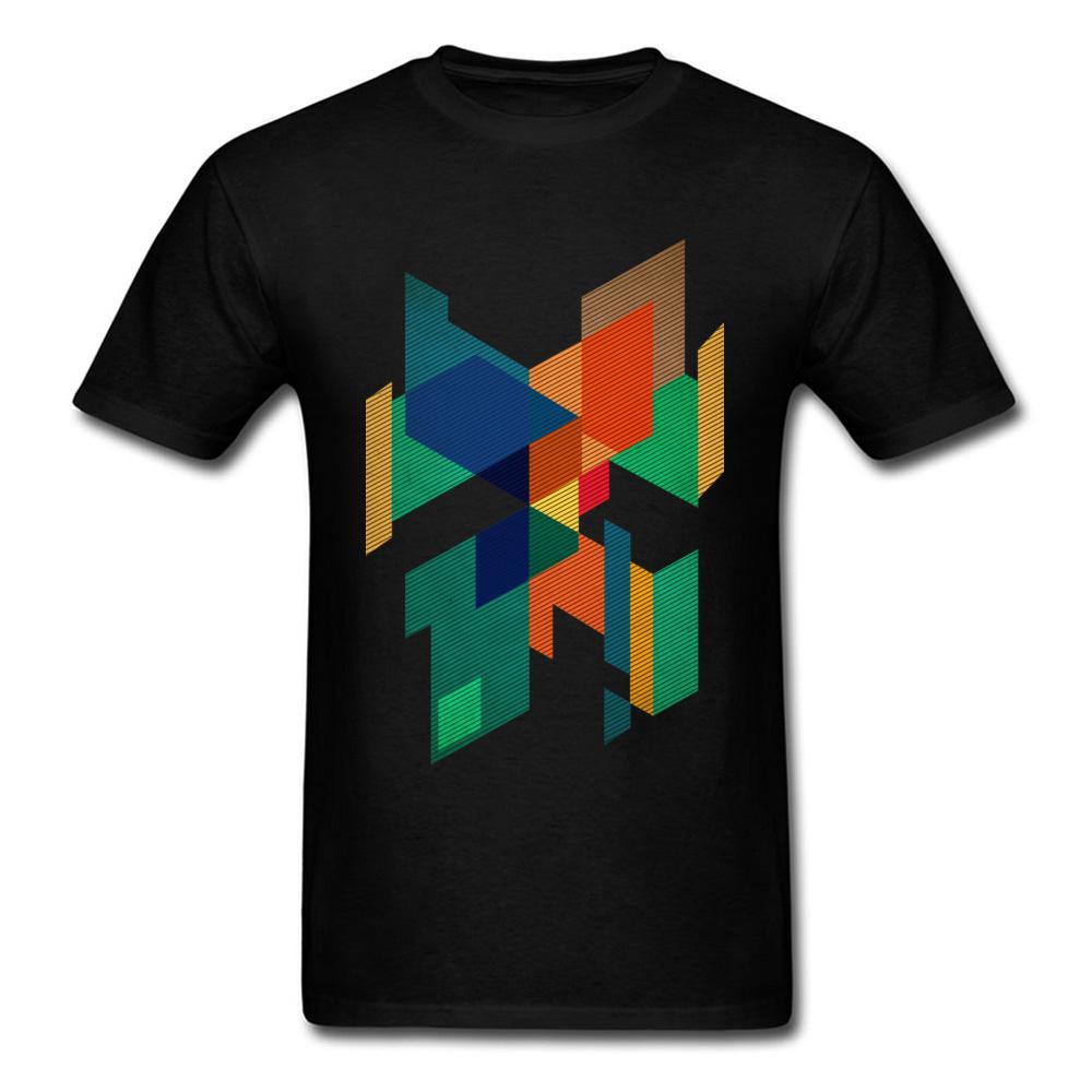 Colores Geométrica Dominante Manga Algodón Corta De Composición Camisetas Abstracta Camiseta Grupos Hombre E9HWD2I