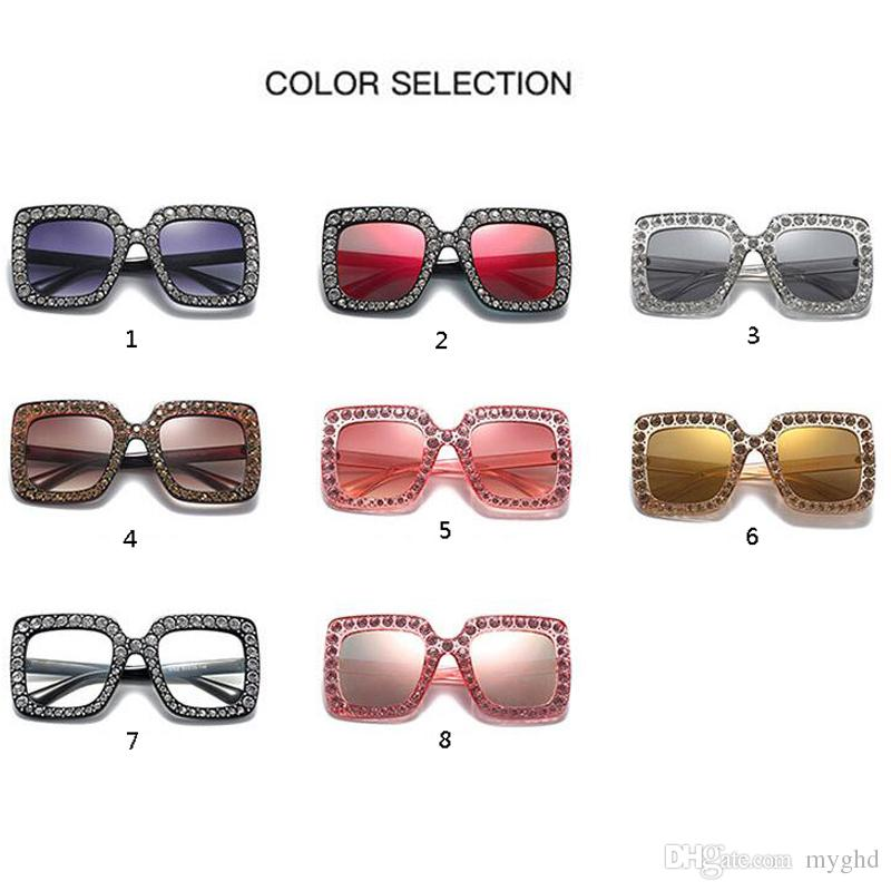 646b4fba6b Big Diamond Sun Glasses Square Colored Shades Women Oversized ...