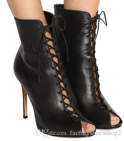4c319bada39a Women Black Peep Toe High Heel Lace Up Ankle Boots Sexy Summer Booties With  Zipper Ladies Dress Shoes Evening Heels Large Size Boots Online Leather  Boots ...