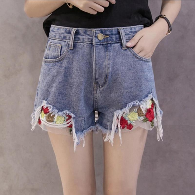Acheter Vintage Brodé Floral Shorts Femmes Maille Rose Broderie Shorts  Élastiqué Jeans Taille Haute Jeans Bleu Courte Femme De  28.63 Du Your08  a093594cf69