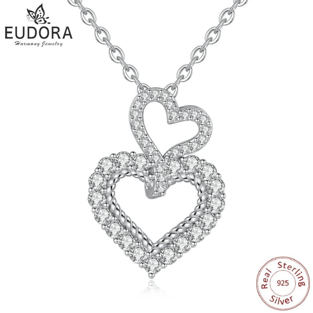 5c1d966ca EUDORA 925 Sterling Silver CZ Double Heart Pendant Love Necklaces ...