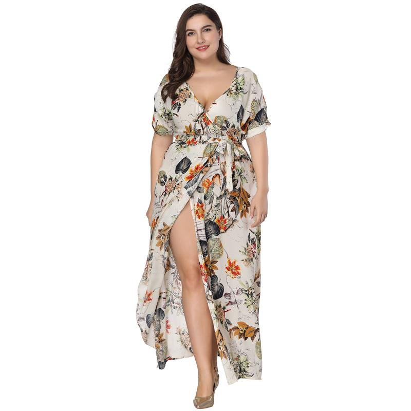 cb03c293172 2019 Plus Size Floral Print Boho Dress 2018 Fashion Women Summer Short  Sleeve V Neck Wrap Dress Split Sexy Beach XL To 7XL From Deborahao