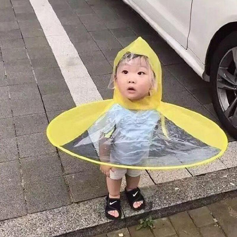 2019 Creative UFO Children Rain Hat Umbrella Non Handle Rain Cape Poncho For  Kids And Students From Baibuju8 fbecd9bd9386