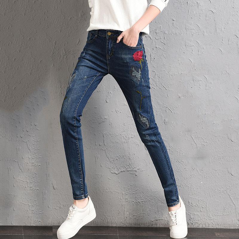 59919d4cec Compre Moda Clásica 4 Temporada Pantalones Vaqueros De Cintura Alta Mujer  Pantalones Harén Azul Bordado Flor Madre Pantalones Vaqueros Pantalones  Casuales ...