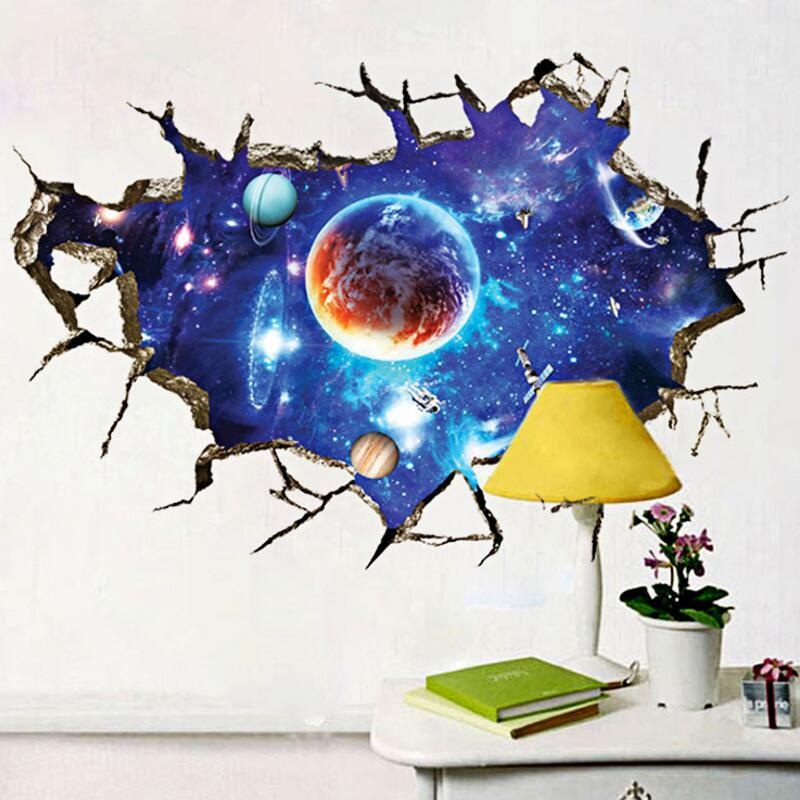 Outer Space 3D Wall Sticker Cosmic Galaxy Wall Decals For Kids Room Floor  Decoration Ceiling Stickers Sticker Wall Murals Sticker Wall Quotes From  Homeju, ...