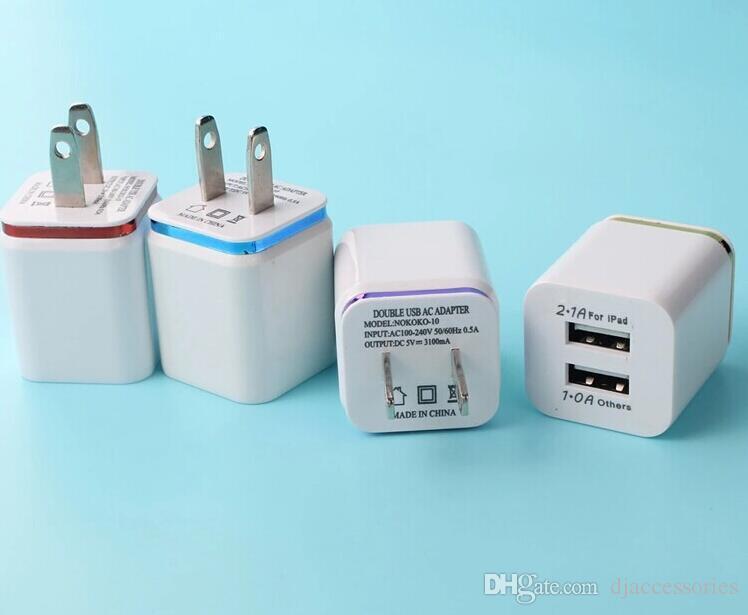 Cargador de pared USB doble EE. UU. Enchufe 2.1A Cargador de pared USB dapter 2 cargador de pared USB para Samsung Galaxy / iPhone / Teléfonos Android