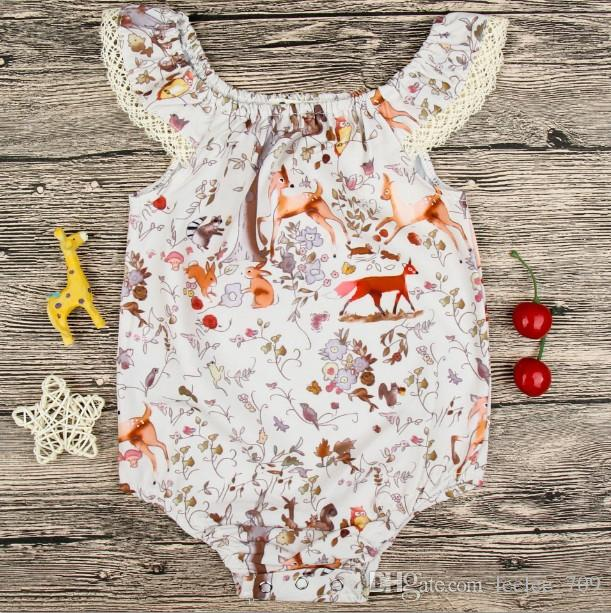 Baby Girls Deer Cap Sleeves Rompers with Snap Summer Children Boutique Clothing Euro America 0-3T Infant Toddlers Girls Rompers
