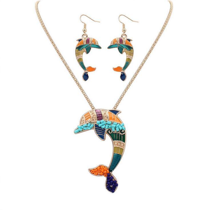 Colorful dolphin necklace earring set Euramerican sweater chain pendant necklace women bardian accessories gift free ship