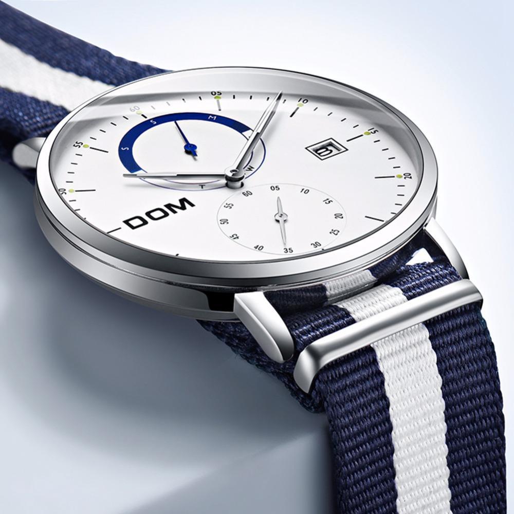 d59d46a650d Compre DOM Homens Relógios De Luxo Da Marca Multi Função Dos Homens Esporte  Relógio De Quartzo À Prova D  Água Cinto De Nylon Relógio De Negócios  Relógio De ...