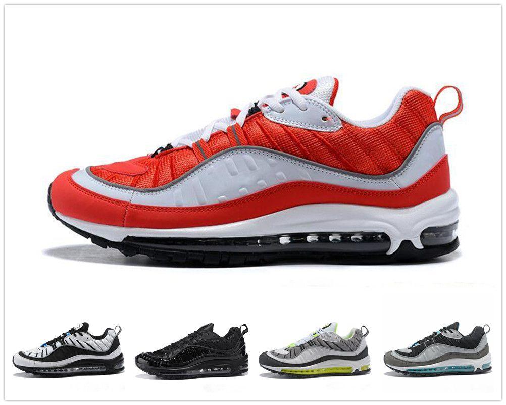 a6b9bd2dc Compre Nike Air Max 98 Airmax Novo Top 98 98s Stripe Azul Marinho Branco  Estilo Gundam Melhor Qualidade Mens Casual Running Shoes Desconto Esporte  Tênis ...