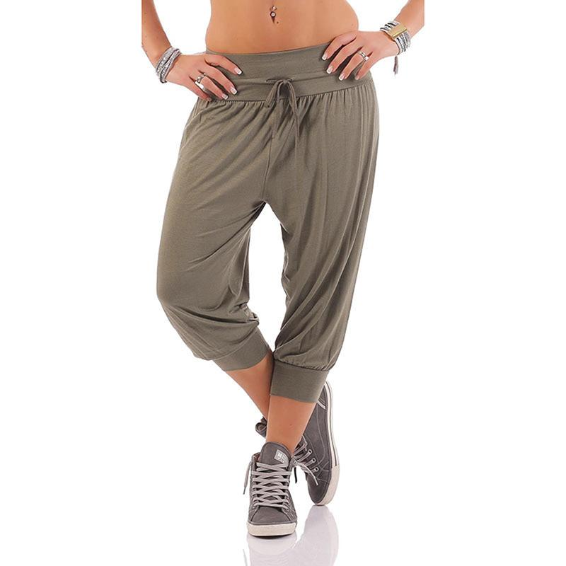 bc9616ba0b2 Women Pants Fashion Mid Waist Elastic Lace Up Mid Pants Casual Solid Loose  Mid Trouser Capris Plus Size Online with  32.71 Piece on Fafachai06 s Store  ...