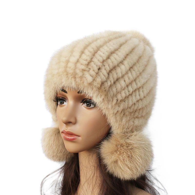 382e808ee161 Fashion Women Real Mink Hat Winter Warm Mink Fur Knit Hats Women Fox Fur  Ball Cap C18103101 Online with  35.94 Piece on Shen84 s Store