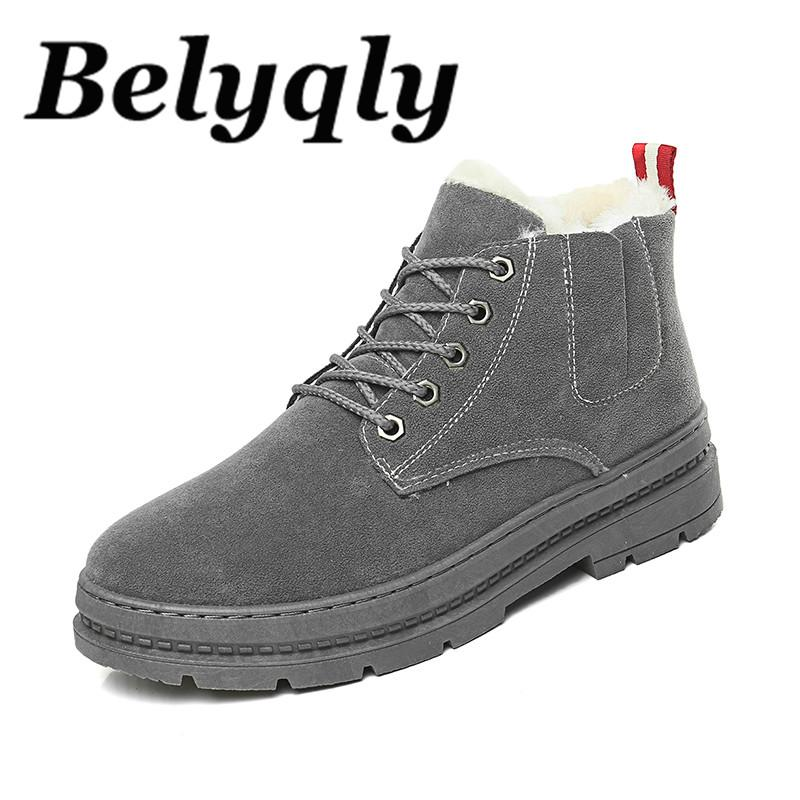 d5f2a96666891 Belyqly Men Martin Boots Ankle Boots Short Plush Keep Warm Round Toe Lace  Up Black Grey Brown Shoes Snow For Male Winter White Boots Black Boots For  Women ...