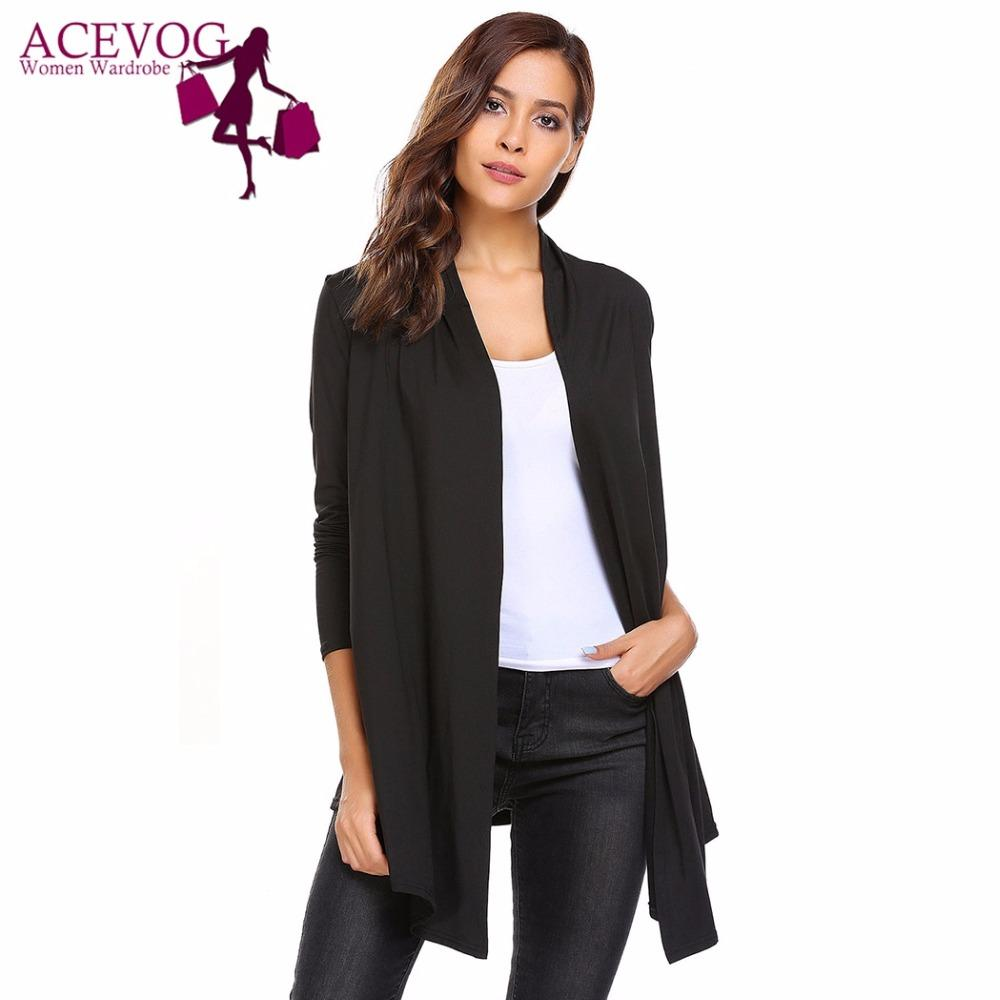 42c446319d 2019 ACEVOG Women S Open Front Long Sleeve Solid Knit Thin Cardigans Spring  Autumn Ladies Sweaters Fashion Simple Female Cardigan From Fitzgerald10