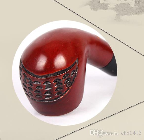 Pipe en bois de santal rouge, porte-cigarette en acrylique, pipe filtrante en bois de pêche sculptée faite à la main.