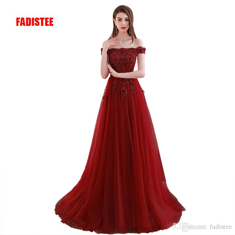 63a382d9c21a4 FADISTEE New Arrival Elegant Lace Dress Evening Dresses Prom Party Lace Up  Sleeveless Formal Long Classic Boat Neck Sweep Train Frock Prom Dresses  With Lace ...