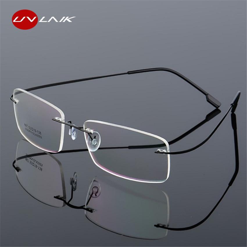 2a6c2df1f3 2019 UVLAIK Rimless Titanium Eyeglasses Frames Women Men Flexible Optical  Frame Prescription Spectacle Frameless Glasses Eye Glasses From  Newcollection
