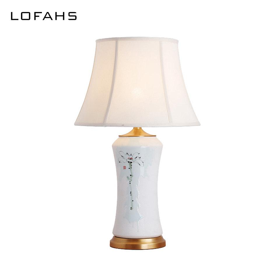 Mano De Hecha Con Porcelana En Jingdezhen Yx6083 Deco Cobre Para Dormitorio Cama Art A Lámpara Sombra Y Mesa Base N8n0wvm