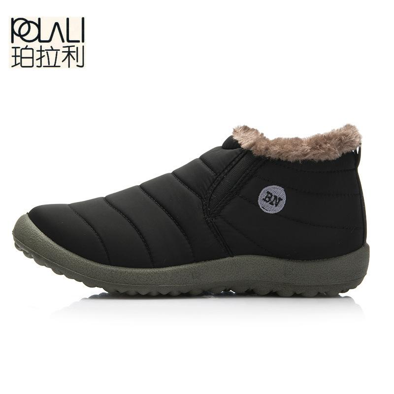 POLALI New Fashion Men Winter Shoes Solid Color Snow Boots Plush Inside Antiskid Bottom Keep Warm Waterproof Ski Boots Size35-48 Sneakers