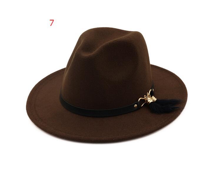 Erkekler kadınlar için yeni Moda ÜST şapkalar Zarif moda Katı keçe Fedora Şapka Band Geniş Düz Ağız Caz Şapkalar Şık Fötr Panama Caps