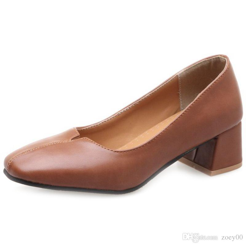 Smilice 2018 Woman Casual Pumps with Chunky Heel and Square Toe Elegant Working Chic Shoes with Large Size Available A237