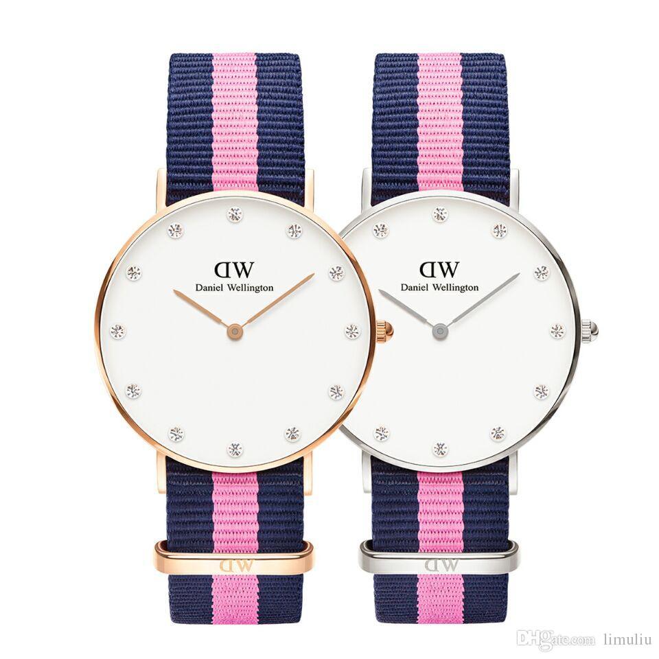 8a82b068dbda1 Relogio Masculino Fashion Rose Gold Watch Women Reloj Mujer Nylon ...