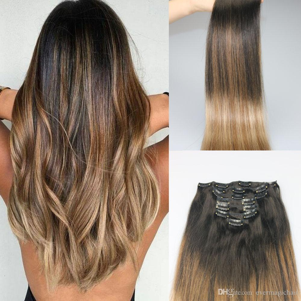 acheter 9a grade remy clip extensions de cheveux omber balayage brun