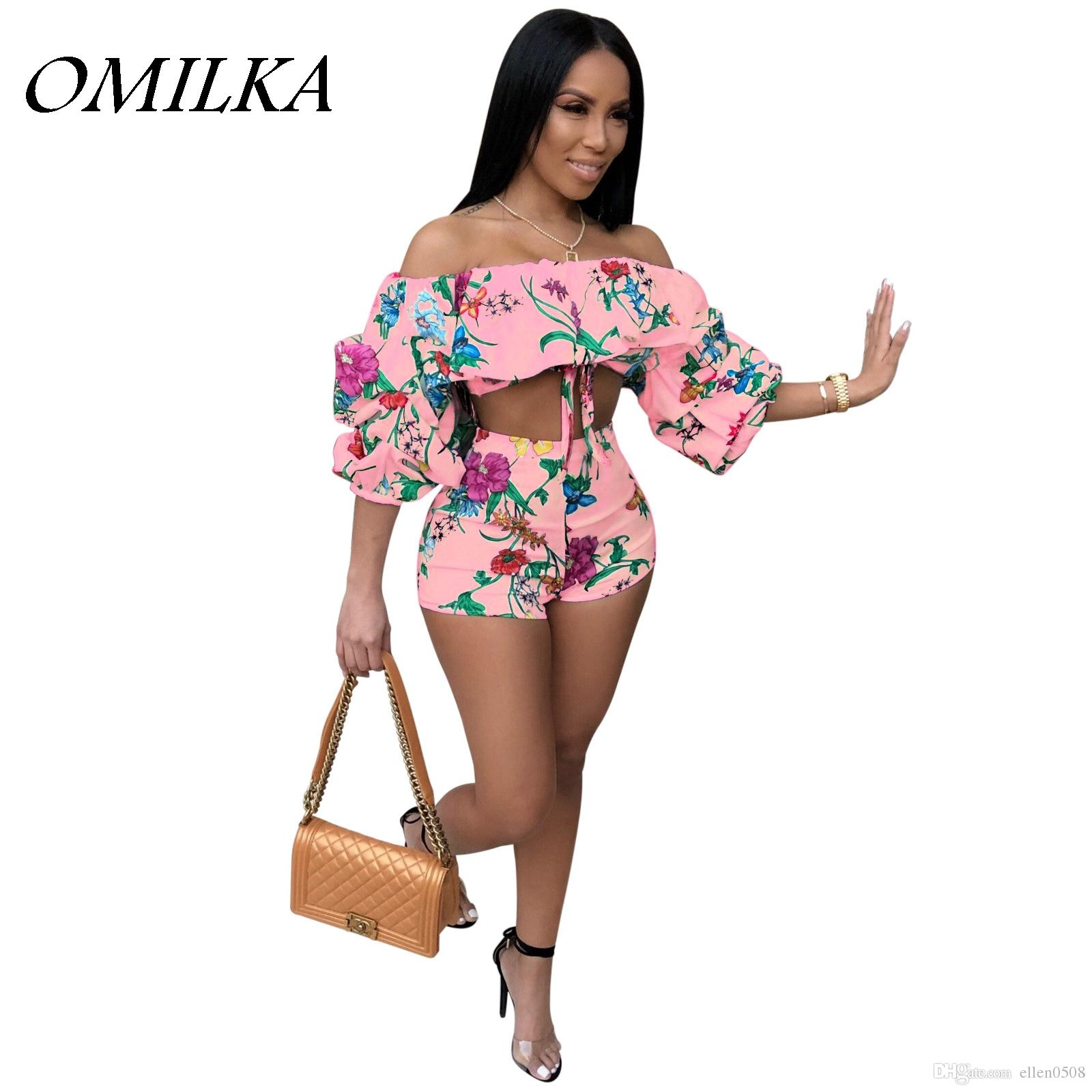 88575b19fcb0 2019 OMILKA 2018 Summer Women Lantern Sleeve Off The Shoulder Crop ...