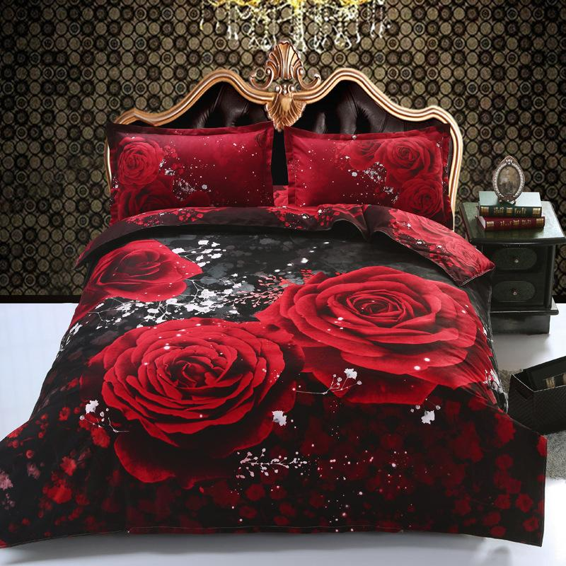 Luxury 3d Red Rose 4pc Bedclothes Queen Bedding Set Bedlinen Bedding Sets Duvet Cover Set Quilt Cover Quickly Free Shipping