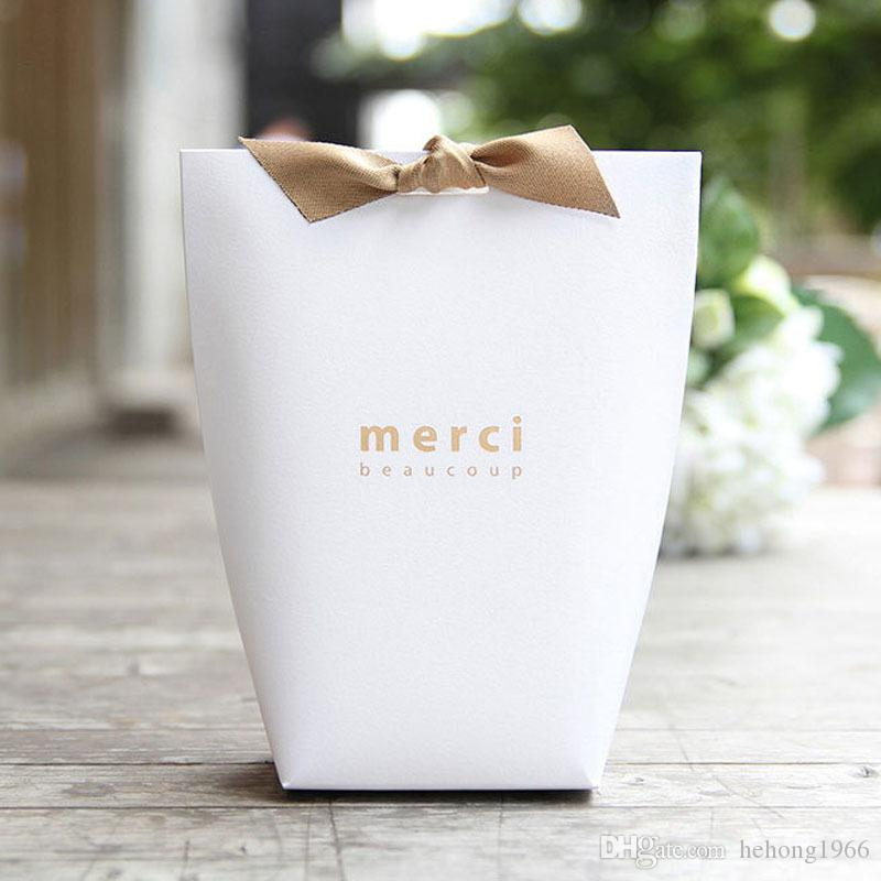 Exquisite Merci Box French Thanks Paper Fold Gift Boxes Large Size No Ribbon Gifts Candy Packing Bag Wedding Decorations 0 5jx UU