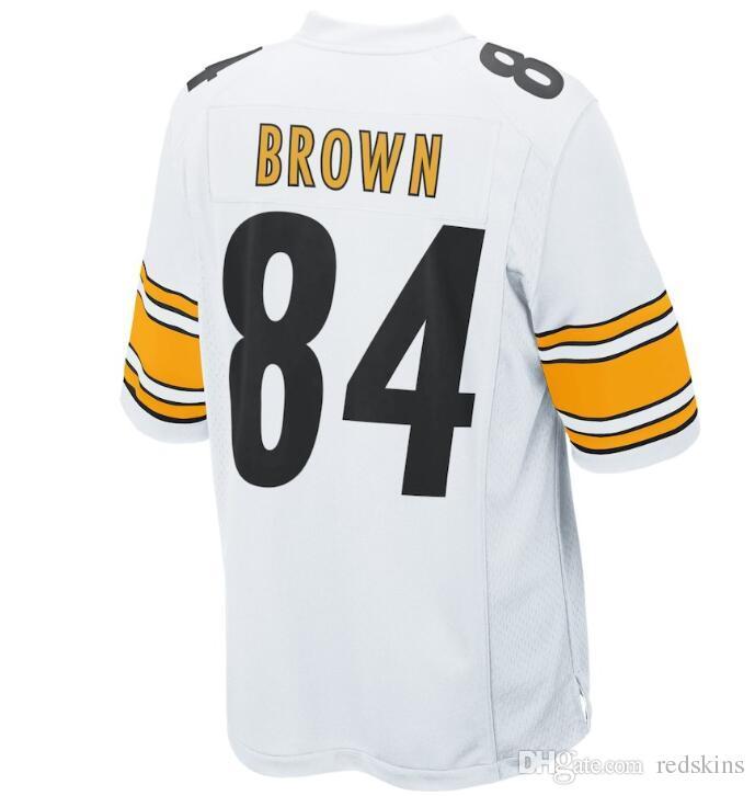 check out 58da9 c6b8e 2019 84 Antonio Brown Jersey Alejandro Villanueva Pittsburgh Steelers Black  White Gold Team Color football jersey Athletic Outdoor Apparel