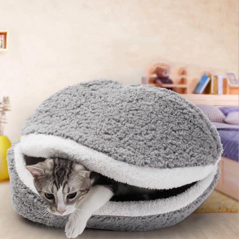 Grosshandel Warme Katzenbett Hund Haus Hamburger Bett Disassem