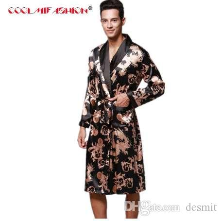 2019 Luxury Men Robe Couple Bathrobe New Brand Faux Silk Robes Long Home  Clothing Male Sleep Robe Spring Summer Style Peignoir Homme From Desmit 01cd4922a