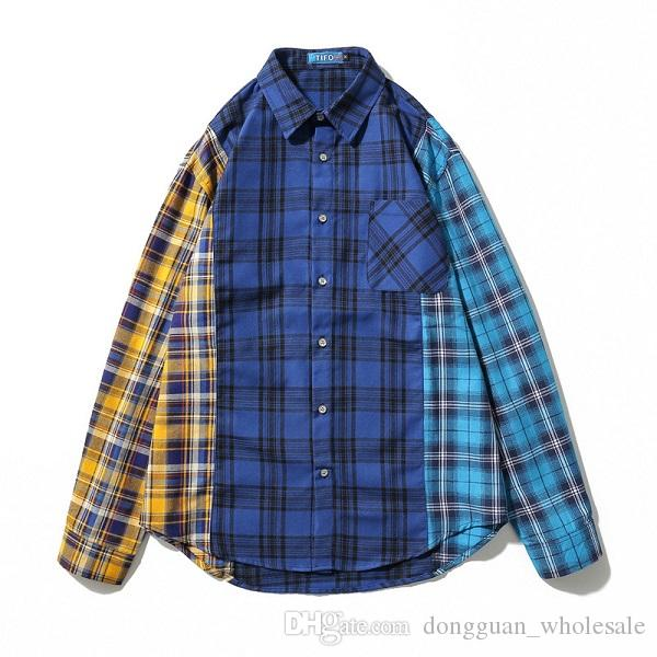 ab946df944 Patchwork Hip Hop Plaid Shirts Mens Long Sleeve Dress Jacket Shirt Blue  Checkered Casual Cotton Flannel Shirt Streetwear