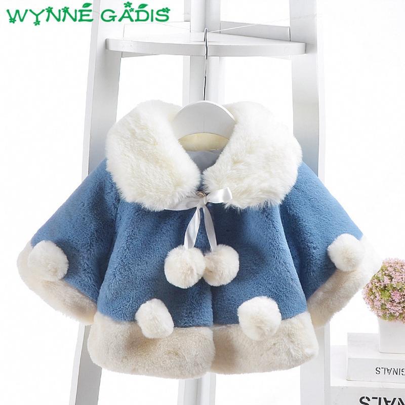 9cbc2bd1e WYNNE GADIS Winter Baby Girls Faux Fur Fleece Ball Turn Down Collar ...