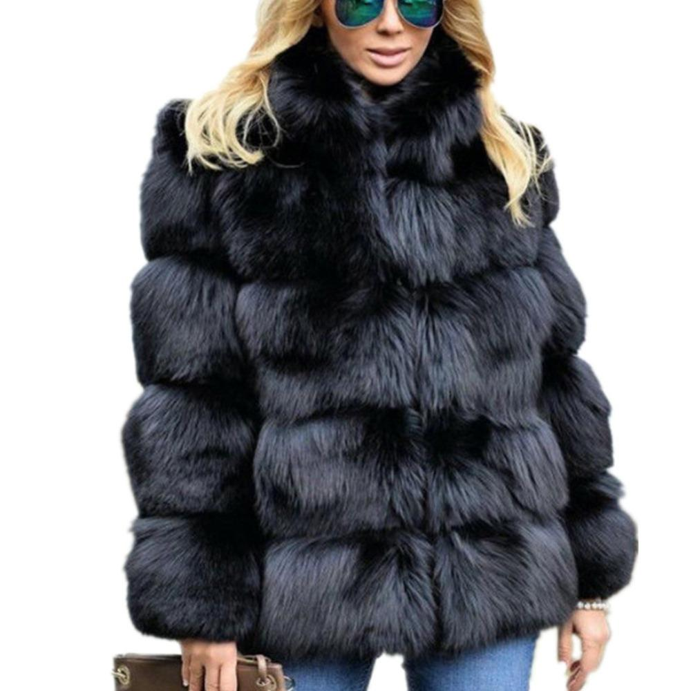 989b154451a Lisa Colly Women Winter Coat Jacket Luxury Faux Fox Fur Coat Slim ...