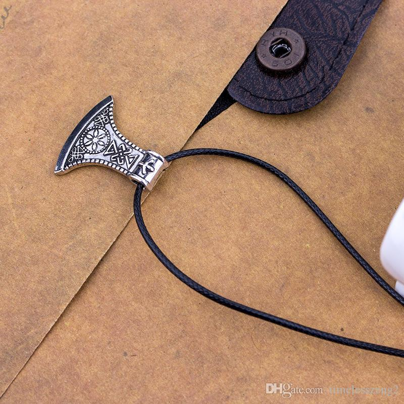 العصرية الأنيقة الشمال قراصنة فايكنغ الفأس قلادة قلادة الجملة خمر العتيقة الفأس الترقوة سلسلة قلادة الرجال المجوهرات هدية