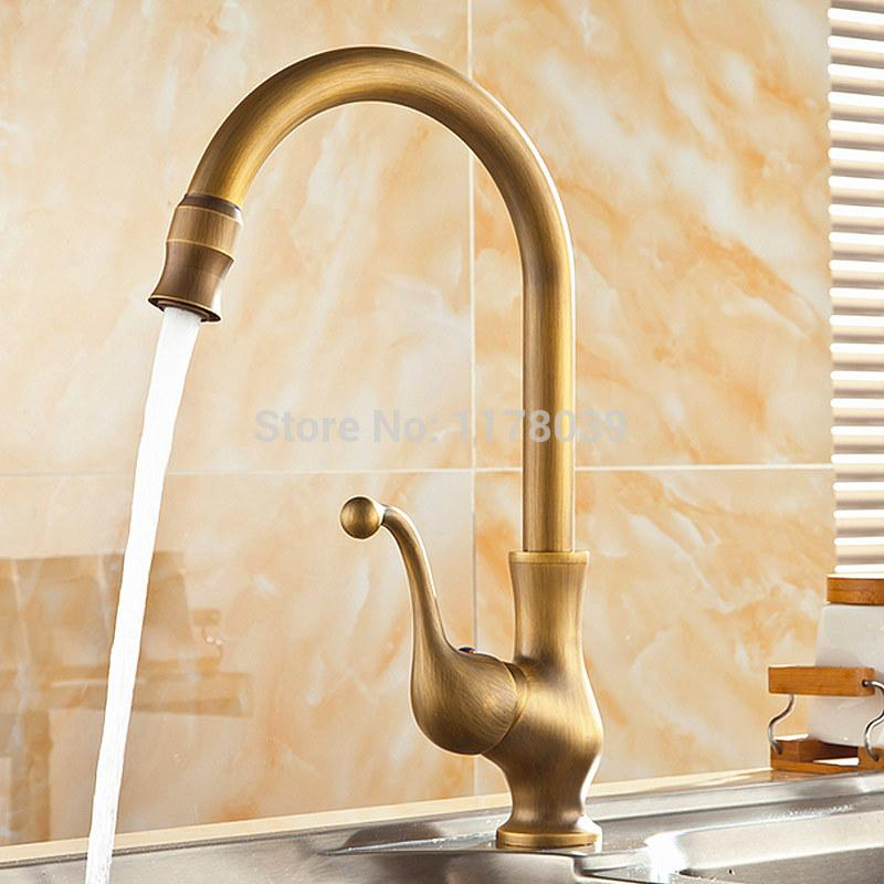 2018 Deck Mounted Bronze Kitchen Sink Faucets,Antique Brass Kitchen Faucet,360  Degrees Rotated Retro Hot And Cold Mixer Tap,J17056 From Rudelf, ...