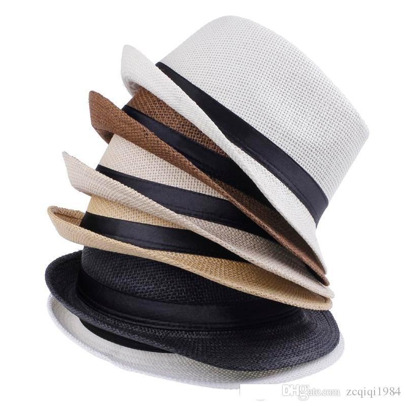 Frete Grátis Moda Simples Cor Panamá Chapéus De Palha Fedora Macio Vogue Homens Mulheres Tampas de Borda Tingidos 6 Cores Escolher