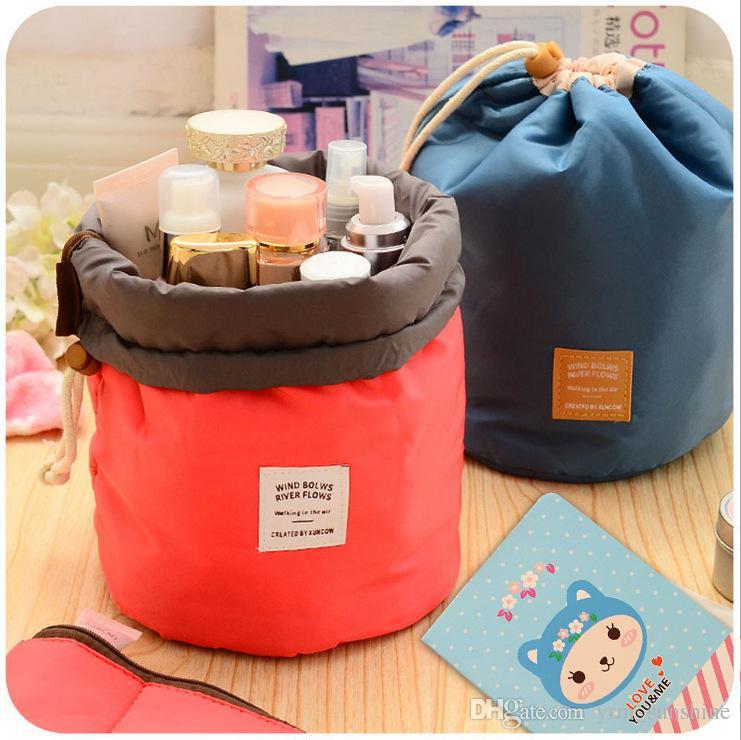 ed1e07c15c Fashion Barrel Shaped Travel Cosmetic Bag Make Up Bag Drawstring Elegant  Drum Wash Kit Bags Makeup Organizer Storage Beauty Bag Storage Solutions  Makeup ...
