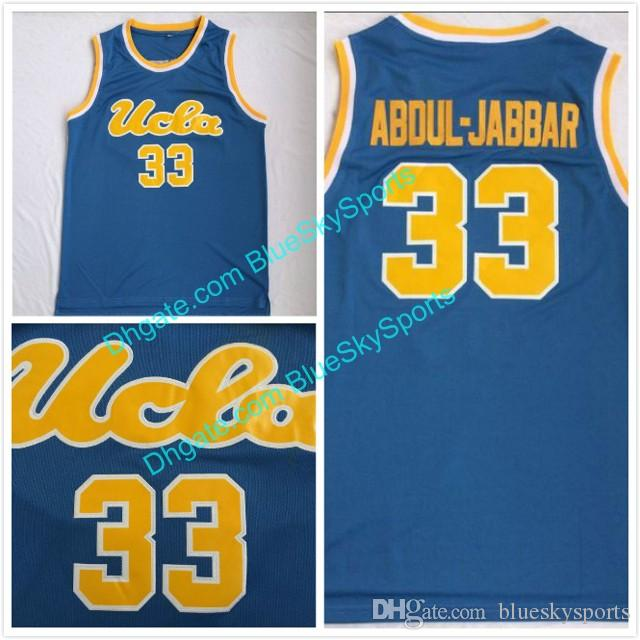 Men s Abdul-Jabbar High Quality Baby Blue Stitched  33 UCLA Bruins ... 038cbc37f