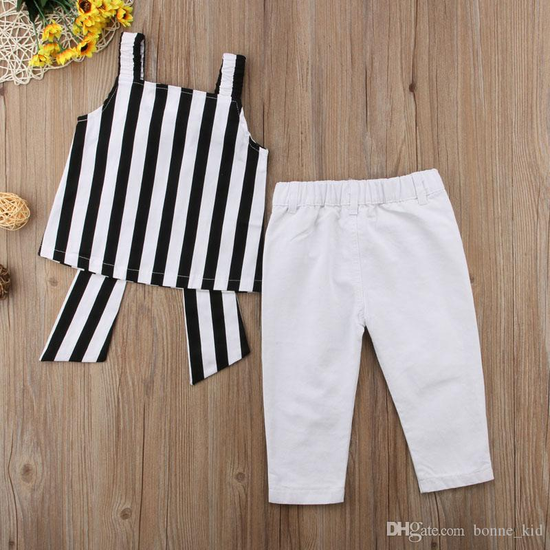 2018 Kids Girls Clothing striped sun-top+ripped pants set outfits big bowknot kid casual clothes children summer boutique costume