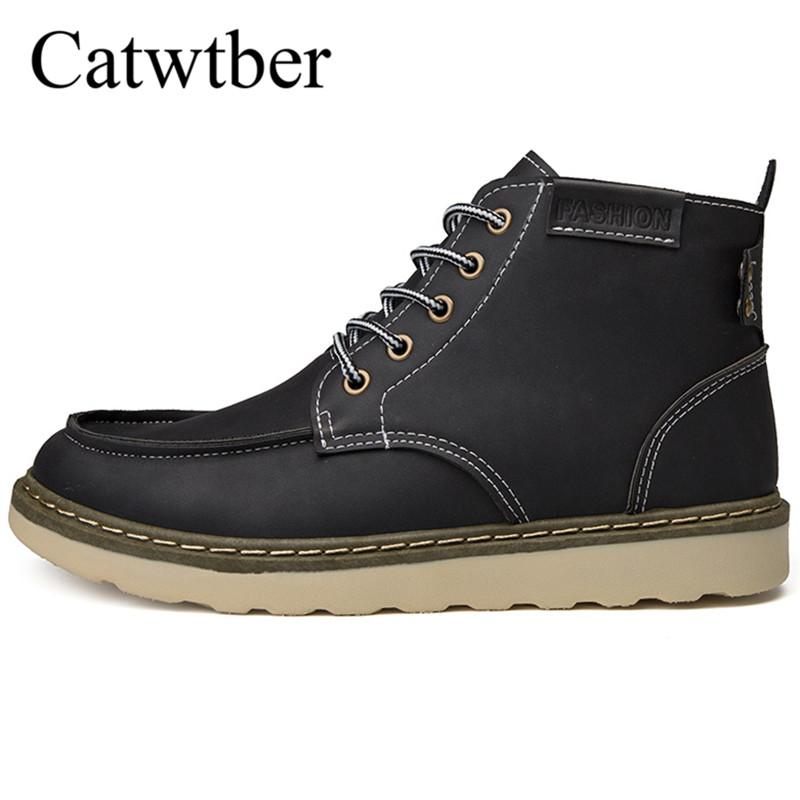 Catwtber Boots Men Shoes New Fashion Autunno Inverno Uomo Stivali Vintage Uomo Scarpe Casual Leather High-Cut Lace-up Hombre Motorcycle