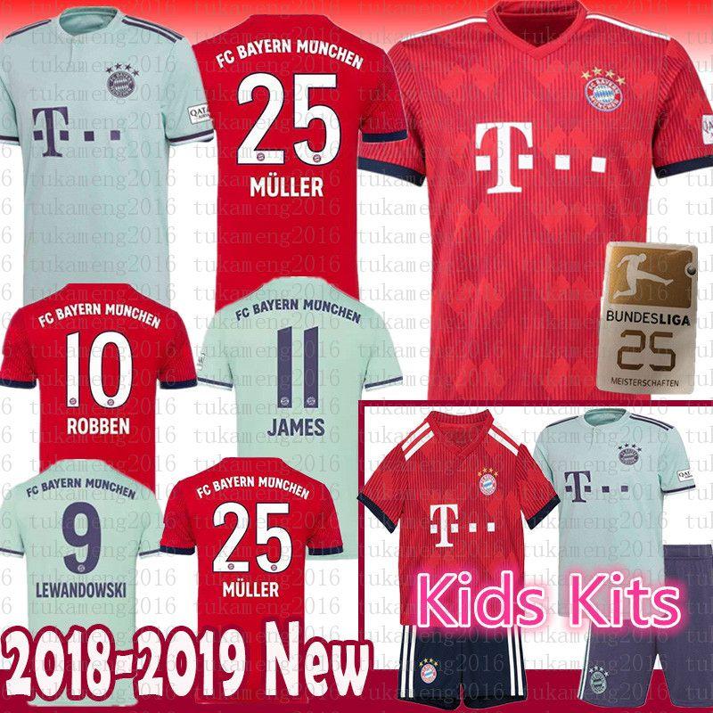 2018 Men Women Kids Kits Bayern Munich Soccer Jersey 2018 25 Muller 10  Robben 9 Lewandowski Vidal Alaba Ribery Kimmich 5 Hummels Football Shirts  From ... 840dc760d