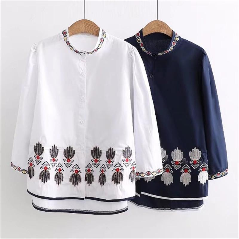 Nuevo 2018 primavera verano Mujeres Camisa gruesa Algodón gato Blusas  Estilo Ropa de Manga Completa Damas Bordado Camisas Florales