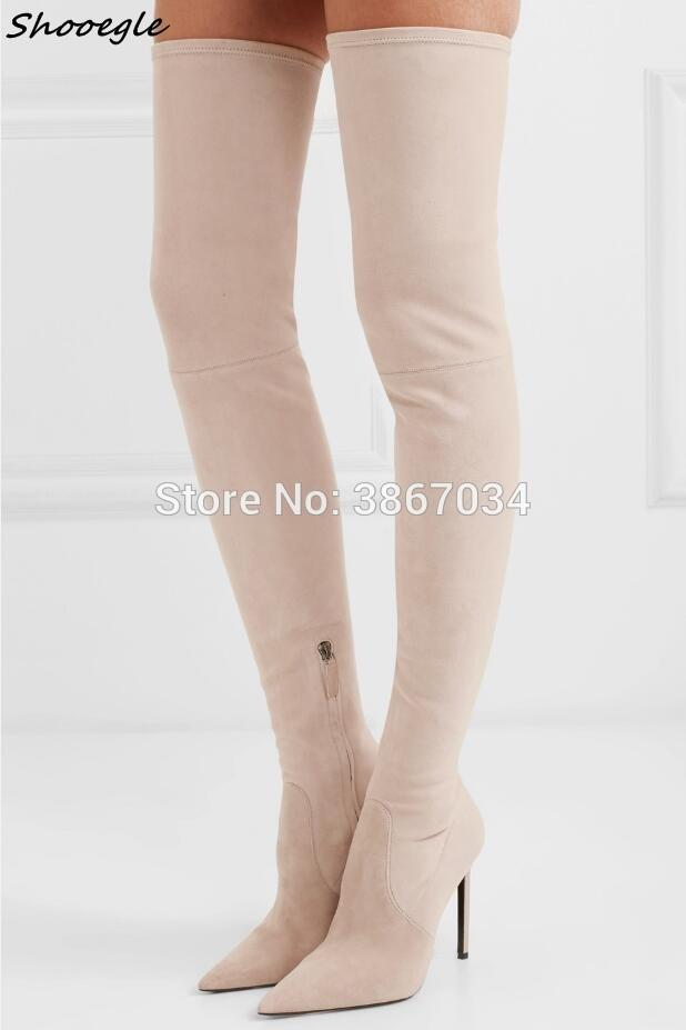 d13f732cfc1 SHOOEGLE Beige Over Knee Boots Stretchy Leather High Heels Pointed Toe  Thigh High Boots Women 120 Mm Stiletto Heel Slim Office Shoes High Heels  From ...