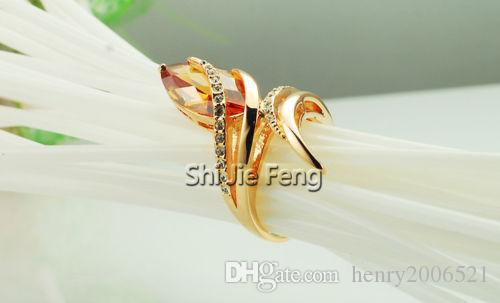 Retro Valentine's Day Eternity Journey 18K rose gold gild Champagne ring size 8