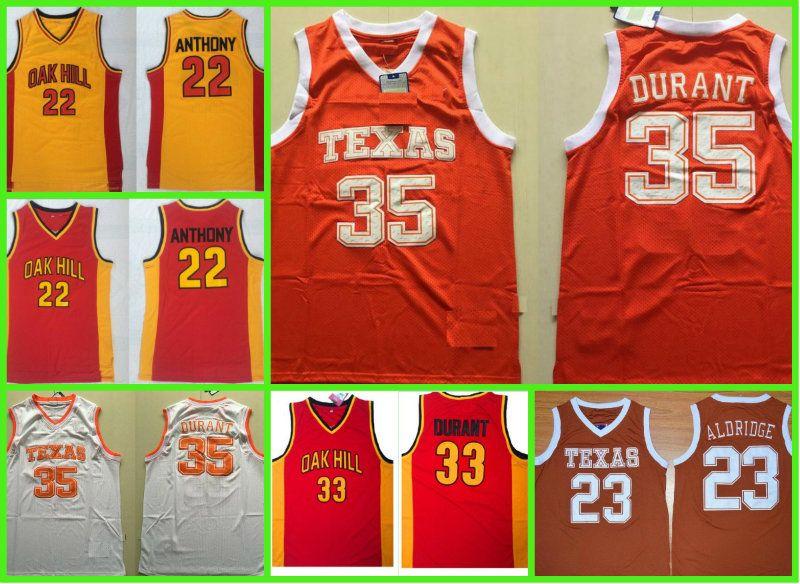 0b0e84d2 Texas Longhorns College Basketball Jerseys 35 Kevin Durant Shirts Cheap Oak  Hill High 23 Lamarcus Aldridge School Stitched Basketball Jerse