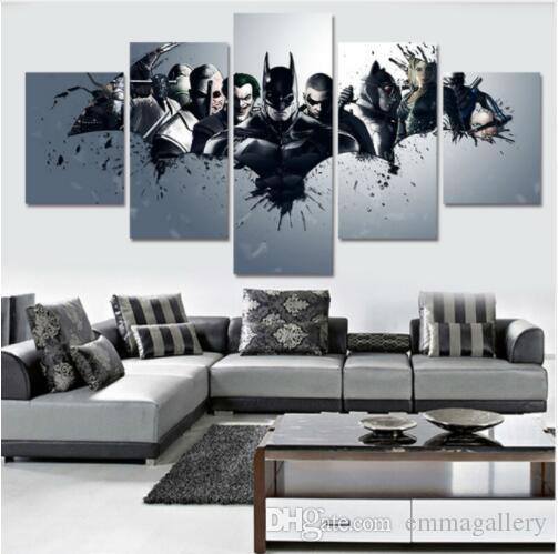 5 panel large HD printed canvas print poster painting Harley-Quinn-Joker-Batman home decor wall art picture for living room