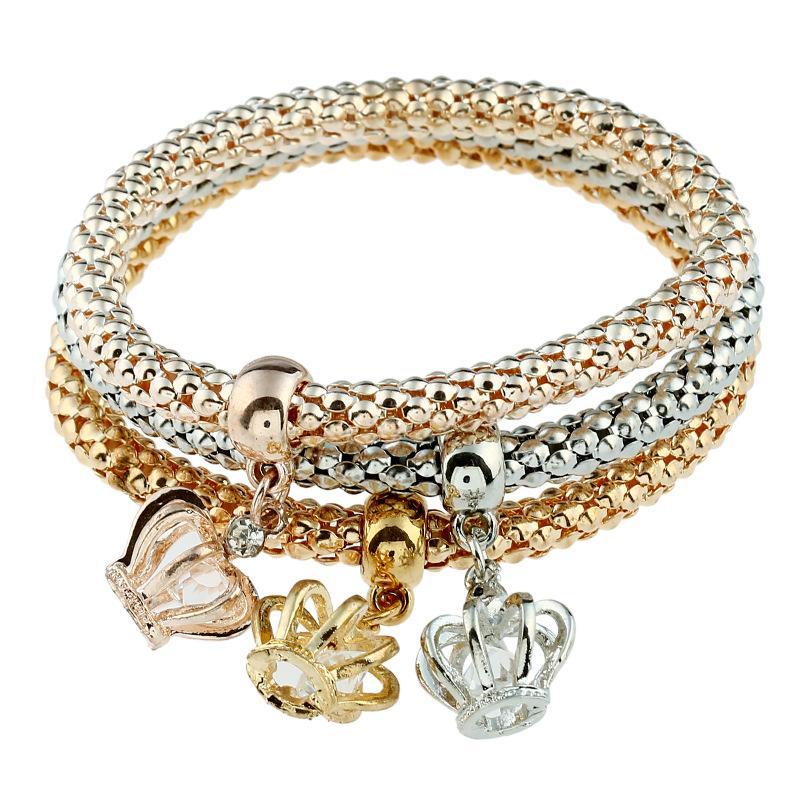 LOVBEAFAS 2018 Moda Charme Pulseiras Pulseiras Com Coroa e Borboleta Cristal Mulheres Presente de Dia Dos Namorados de Casamento
